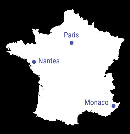 Localisation Monaco Paris Nantes